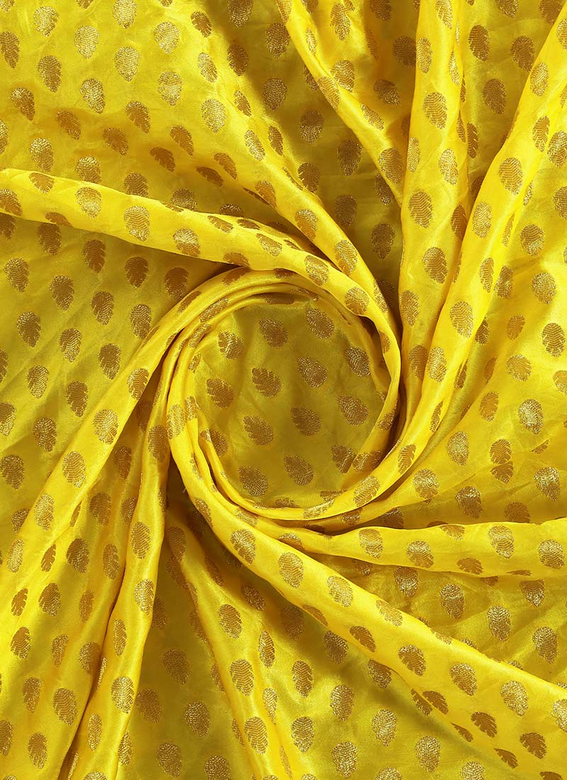 Buy Yellow Brocade Fabric Brocade Blended Patterned