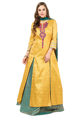Yellow Brocade Long Choli Lehenga
