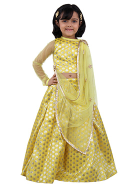 Yellow Brocade N Net Kids Lehenga