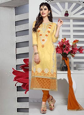 Yellow Cambric Cotton Straight Suit