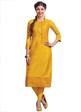 Yellow Chanderi Art Silk Churidar Suit