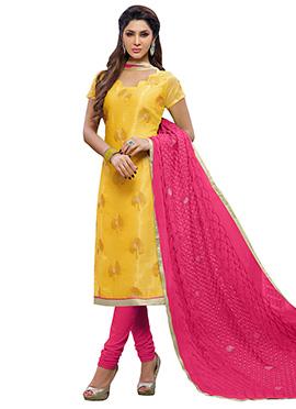 Yellow Chanderi Art Silk Churidar Suit