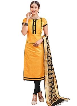 Yellow Chanderi Cotton Churidar Suit