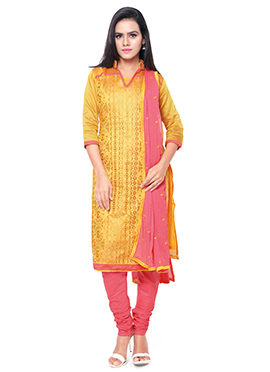 Yellow Chanderi Cotton Embroidered Churidar Suit