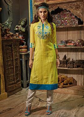 Yellow Chanderi Cotton Kurti