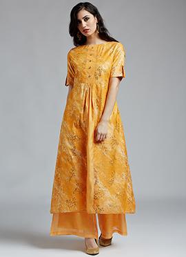 Yellow Chanderi Cotton Palazzo Suit