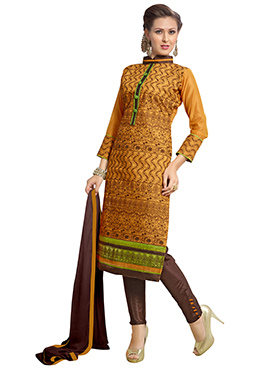 Mustard Chanderi Cotton Straight Pant Suit