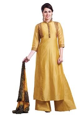 Yellow Chanderi Pure Silk Palazzo Suit