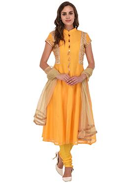 Yellow Chanderi Silk Anarkali Suit