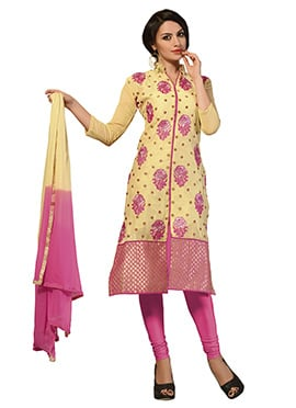 Yellow Chanderi Silk Cotton Center Slit Churidar Suit
