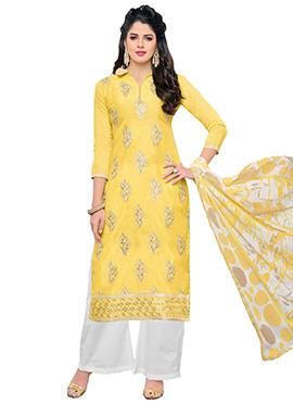 Yellow Chanderi Silk Palazzo Suit