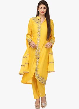 Yellow Chanderi Silk Straight Pant Suit