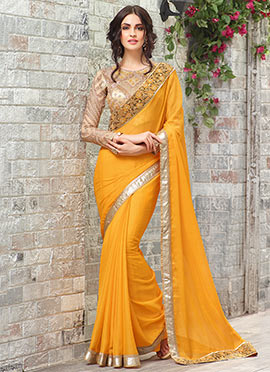 Yellow Chiffon Border Saree