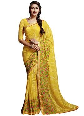 Yellow Chiffon Brasso Printed Saree