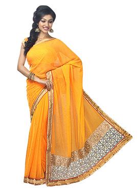 Yellow Chiffon Embellished Saree