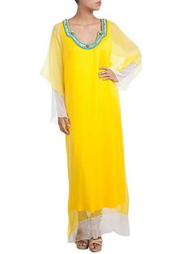 Yellow Chiffon Kaftan Dress