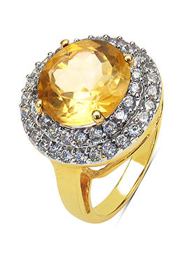 Yellow Citrine N Gold Plated Ring