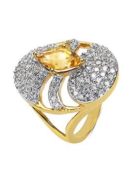 Yellow Citrine N White Cubic Zirconia Ring