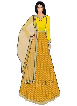 Yellow Close Collar Brocade Abaya Suit