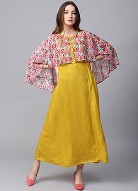 Yellow Cotton Capes Style Dress