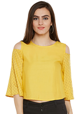 Yellow Cotton Cold Shoulder Top