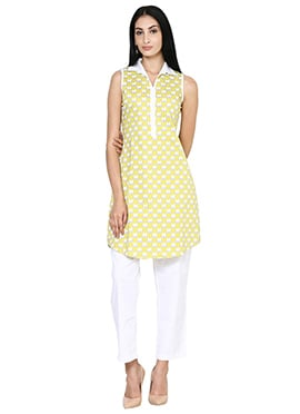 Yellow Cotton Collared Stretchable Tunic