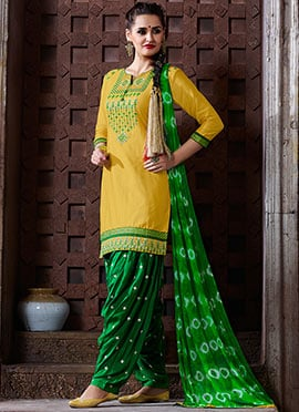 Yellow Cotton Embroidered Patiala Suit