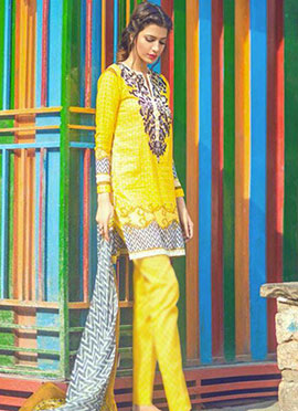 Yellow Cotton Embroidered Straight Pant Suit