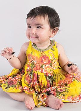 Tiber Taber Yellow Cotton Girls Dress