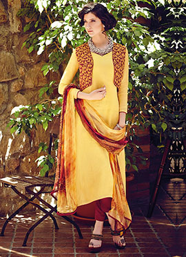 Yellow Cotton Jacket Style Straight Pant Suit