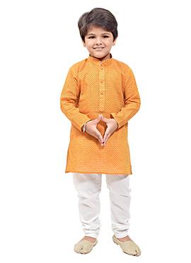 Yellow Cotton Kids Kurta Pyjama