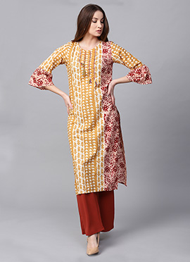 Yellow Cotton Knee Length Kurti