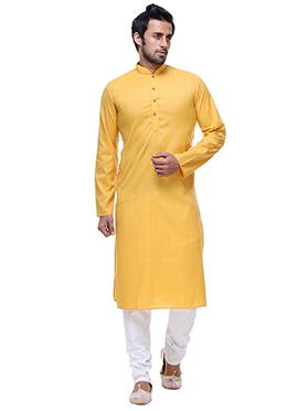 Yellow Cotton Kurta Pyjama