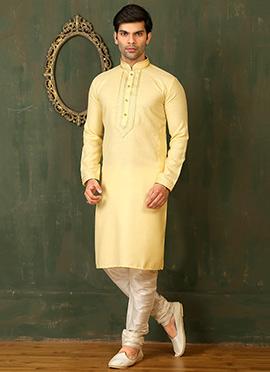 Yellow Cotton Linen Kurta Pyjama