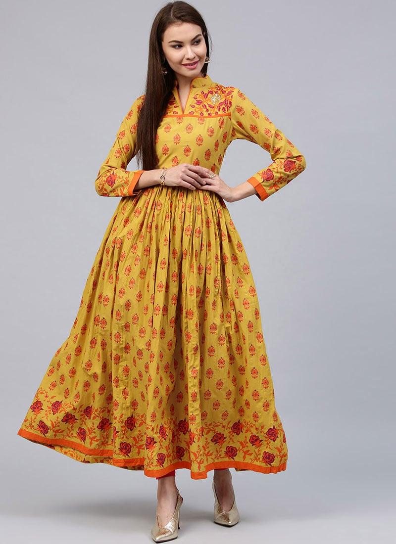 Buy Yellow Cotton Long Anarkali Kurti Printed Long Kurti