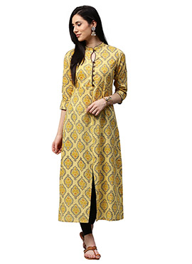 Yellow Cotton Long Kurti