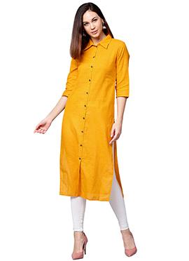 Yellow Cotton Long Kurti