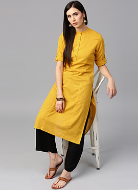 Yellow Cotton Palazzo Set