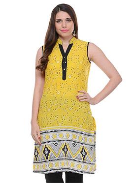 Yellow Cotton Printed Short Kurti