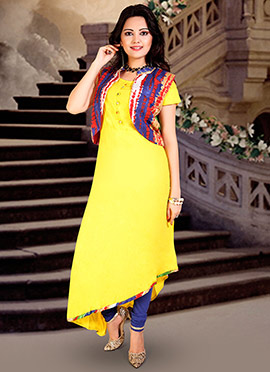 Yellow Cotton Rayon Anarkali Suit