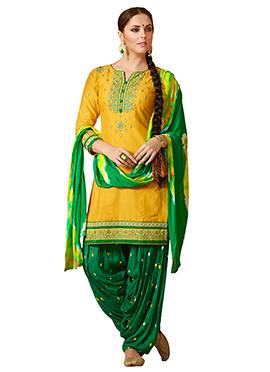 Yellow Cotton Rayon Salwar Suit