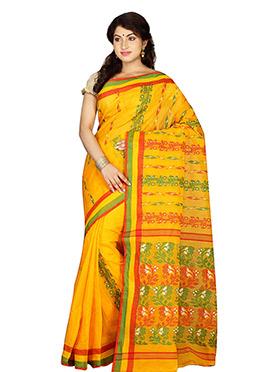 Yellow Bengal Handloom Tant Saree