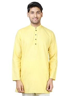 Yellow Cotton Short Kurta