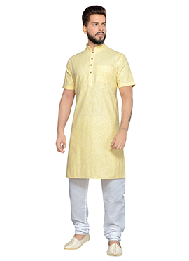 Yellow Cotton Half Sleeve Kurta Pyjama