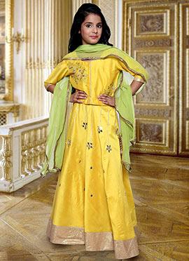 Yellow Cotton Silk Kids Lehenga Choli