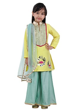 Yellow Cotton Silk Net Kids Sharara