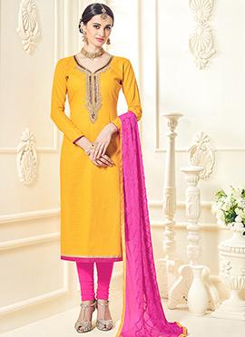 Yellow Cotton Silk Straight Suit