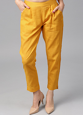 Yellow Cotton Straight Pant