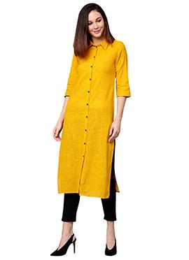 Yellow Cotton Straight Pant Set