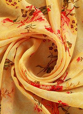 Yellow Digital Printed Chinon Chiffon Fabric